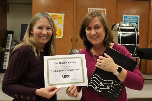 $500 to Foothill Middle School Choir